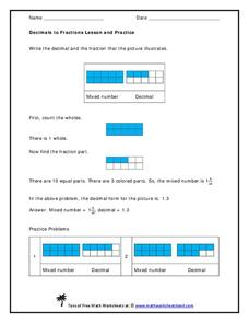 Decimals to Fractions Lesson and Practice Handouts & Reference