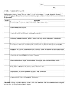 Poetry Anticipation Guide Worksheet