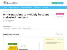 Write Equations to Multiply Fractions and Mixed Numbers Video
