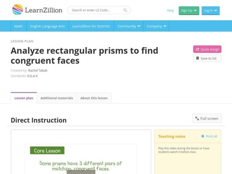 Analyze Rectangular Prisms to Find Congruent Faces Video
