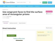 Use Congruent Faces to Find the Surface Area of Rectangular Prisms Video
