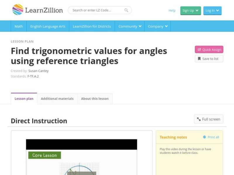 Find Trigonometric Values for Angles Using Reference Triangles Video