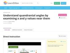 Understand Quandrantal Angles by Examining X and Y Values Near Them Video
