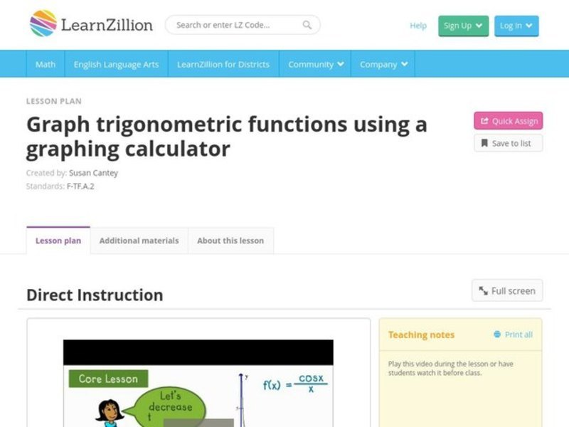 Graph Trigonometric Functions Using a Graphing Calculator Video