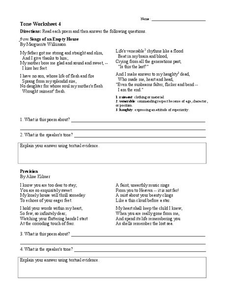 Tone Worksheet 4 Worksheet for 6th - 9th Grade | Lesson Planet