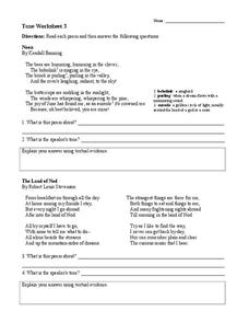 Tone Worksheet 3 Worksheet for 6th - 9th Grade | Lesson Planet