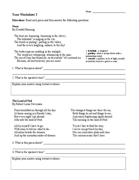 Tone Worksheet 3 Worksheet For 6th 9th Grade Lesson Planet