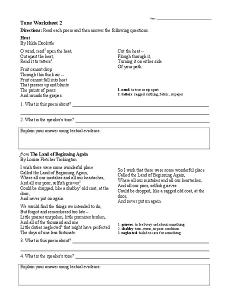 Tone Worksheet 2 Worksheet For 6th 9th Grade Lesson Planet