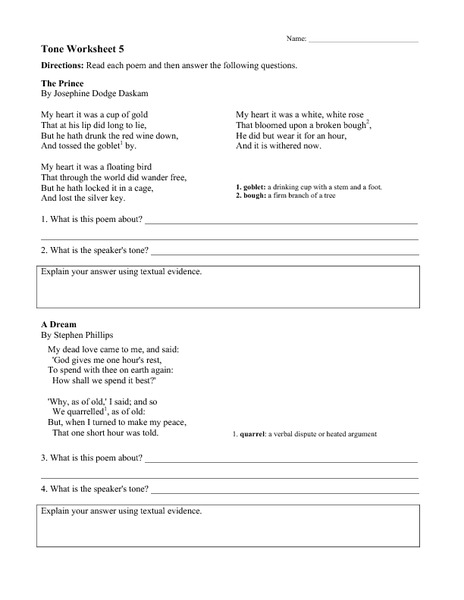 Tone Worksheet 5 Worksheet For 6th 9th Grade Lesson Planet