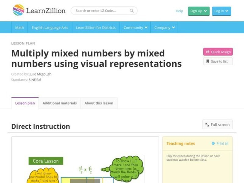Multiply Mixed Numbers by Mixed Numbers Using Visual Representations Video