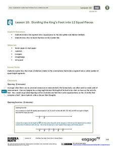 Dividing the King's Foot into 12 Equal Pieces Lesson Plan