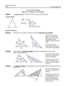 Isosceles Triangles and Special Line Segments Worksheet