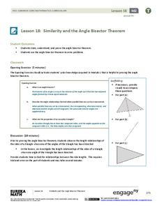 Similarity and the Angle Bisector Theorem Lesson Plan