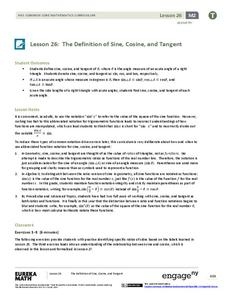 The Definition of Sine, Cosine, and Tangent Lesson Plan