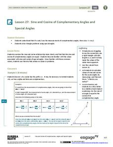 Sine and Cosine of Complementary Angles and Special Angles Lesson Plan
