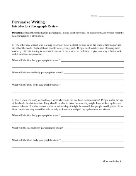 Persuasive Writing - Introductory Paragraph Review Worksheet