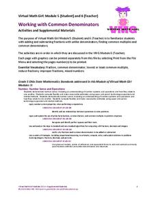 Working with Common Denominators: Activities and Supplemental Materials Worksheet