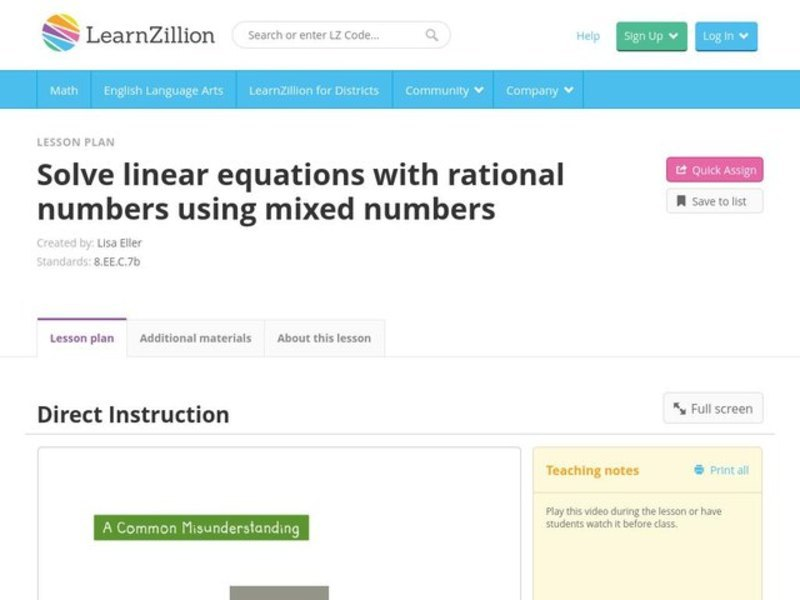 Solve Linear Equations with Rational Numbers Using Mixed Numbers Video