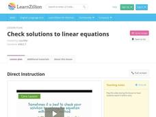 Check Solutions to Linear Equations Video