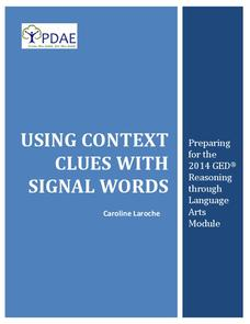 Using Context Clues with Signal Words Handouts & Reference