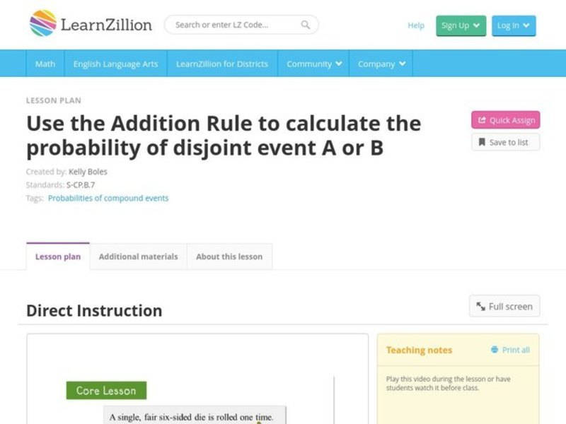 Use the Addition Rule to Calculate the Probability of Disjoint Event A or B Video
