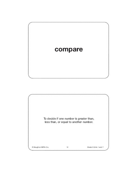 Unit 7 Math Vocabulary Cards (Grade 3) Printables & Template