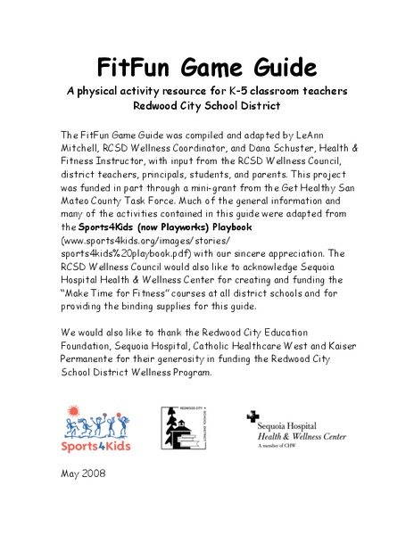 FitFun Game Guide Activities & Project