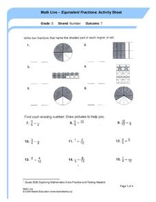 Equivalent Fractions: Activity Sheet Worksheet