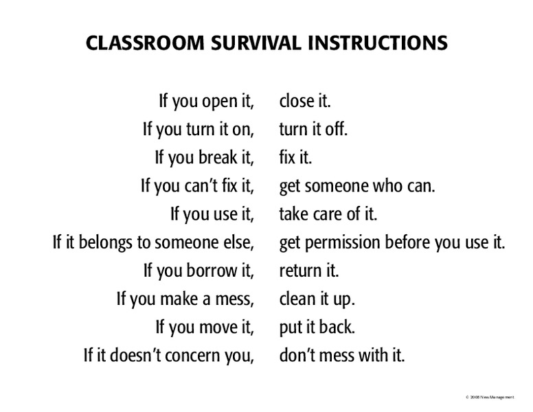 Classroom Survival Instructions Handouts & Reference