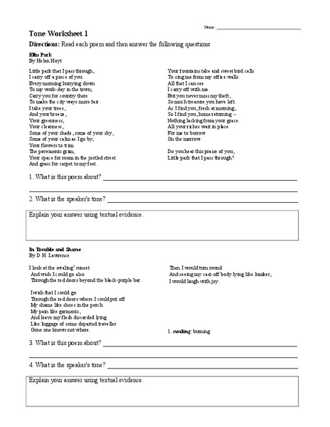 Tone Worksheet 1 Worksheet For 6th 9th Grade Lesson Planet