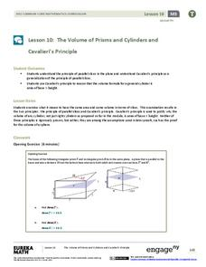 The Volume of Prisms and Cylinders and Cavalieri's Principle Assessment