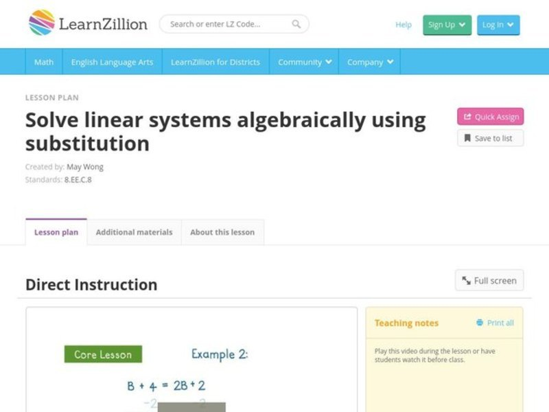 Solve Linear Systems Algebraically Using Substitution Video