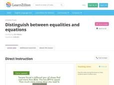 Distinguish Between Equalities and Equations Video