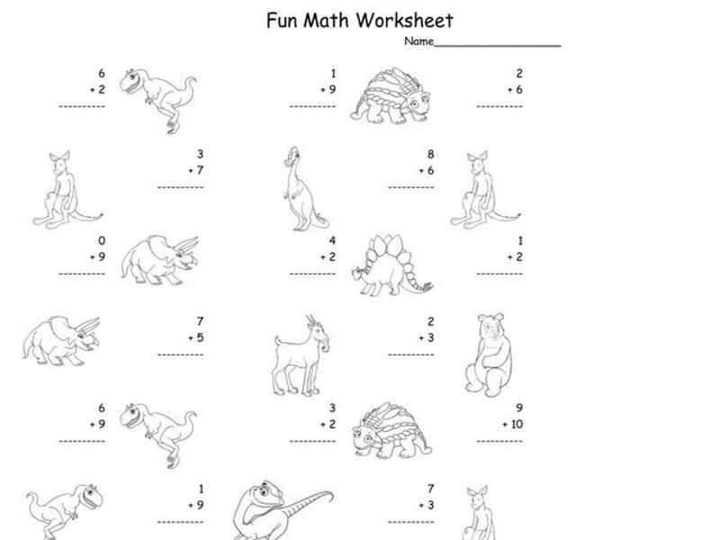 Fun Math Worksheet: 1-Digit Addition 8 Worksheet