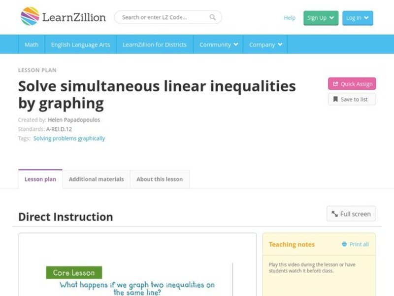 Solve Simultaneous Linear Inequalities by Graphing Video