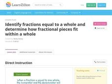 Identify Fractions Equal to a Whole and Determine How Fractional Pieces Fit within a Whole Video
