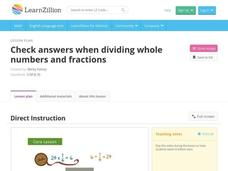 Check Answers When Dividing Whole Numbers and Fractions Video