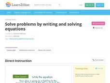 Solve Problems by Writing and Solving Equations Video