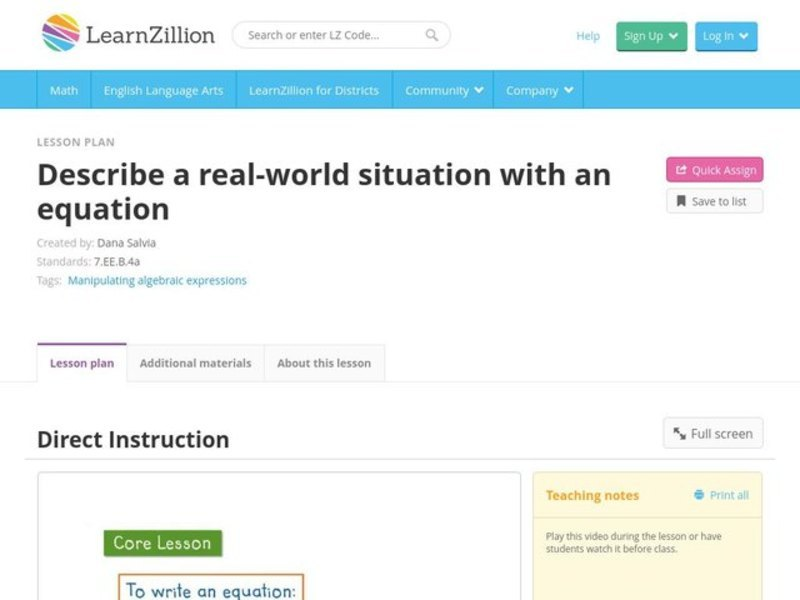 Convert a Real-World Situation into an Equation Video