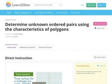 Determine Unknown Ordered Pairs Using the Characteristics of Polygons Video