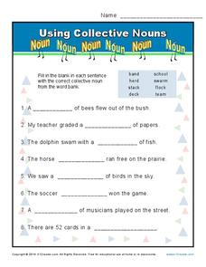 Using Collective Nouns Worksheet