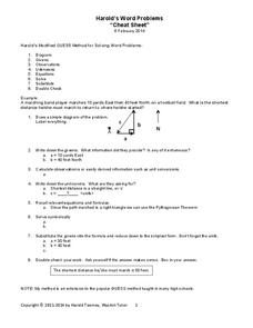 Word Problems Review Sheet Handouts & Reference