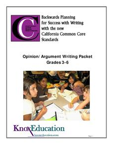 Opinion Argument Writing Packet Unit