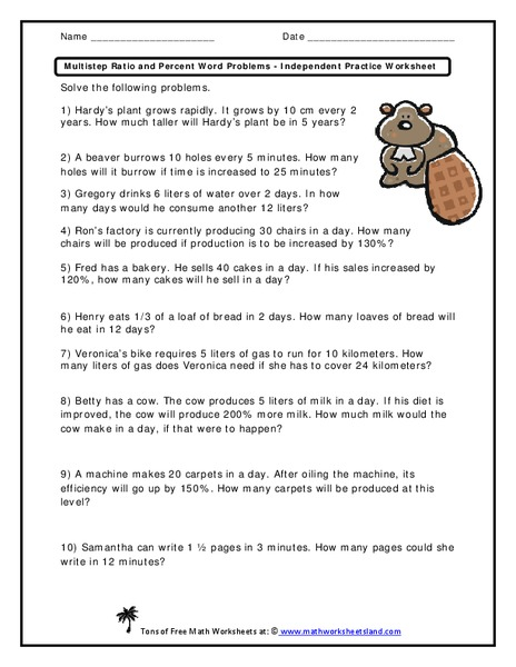 Multistep Ratio and Percent Word Problems - Independent Practice Worksheet Worksheet