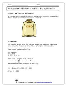Markups And Markdowns Word Problems Step By Step Lesson Handouts