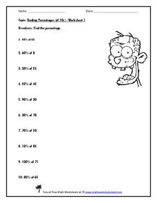 Finding Percentages (of 10s) Worksheet