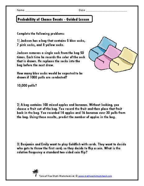 Probability of Chance Events - Guided Lesson Worksheet