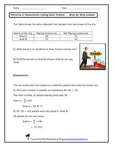 Patterns of Association (Using Data Tables) - Step-by-Step Lesson Handouts & Reference