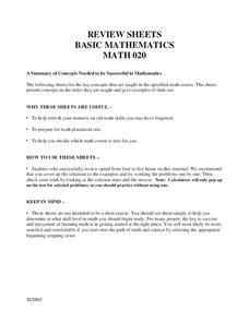 Review Sheets: Basic Mathematics 2 Worksheet