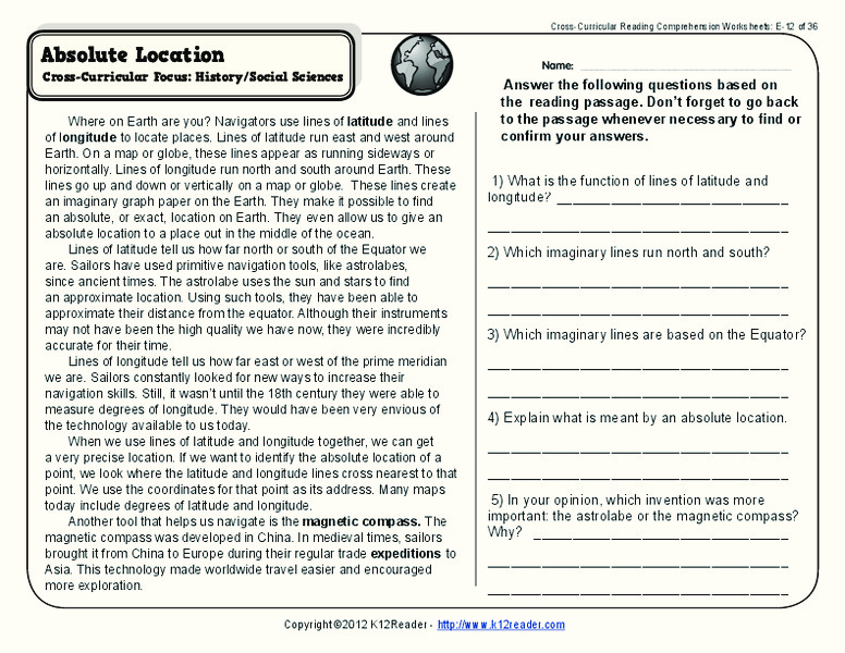 Absolute Location Worksheet For 4th 5th Grade Lesson Planet